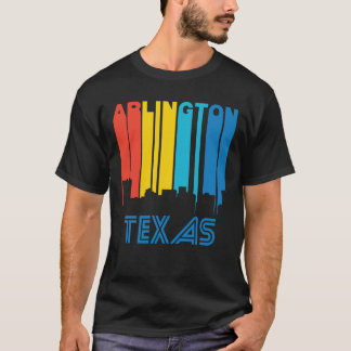 Retro 1970's Style Arlington Texas Skyline T-Shirt