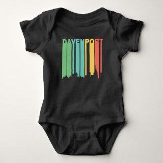 Retro 1970's Style Davenport Iowa Skyline Baby Bodysuit