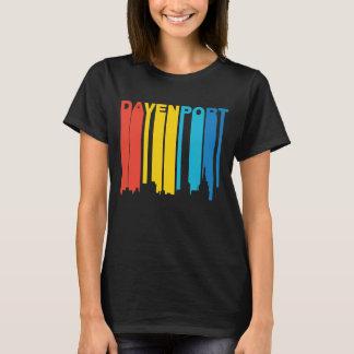 Retro 1970's Style Davenport Iowa Skyline T-Shirt