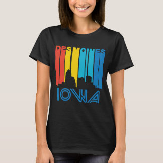 Retro 1970's Style Des Moines Iowa Skyline T-Shirt