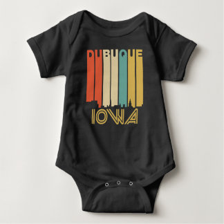 Retro 1970's Style Dubuque Iowa Skyline Baby Bodysuit