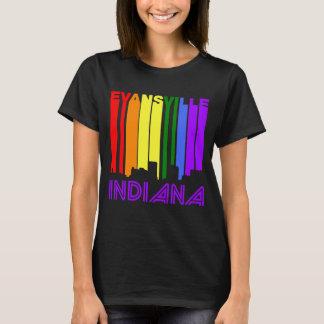 Retro 1970's Style Evansville Indiana Skyline T-Shirt