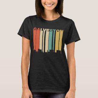Retro 1970's Style Galveston Texas Skyline T-Shirt