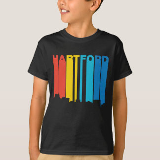 Retro 1970's Style Hartford Connecticut Skyline T-Shirt