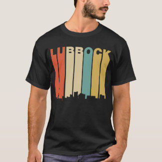 Retro 1970's Style Lubbock Texas Skyline T-Shirt