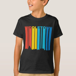 Retro 1970's Style Middletown Connecticut Skyline T-Shirt