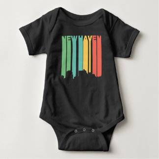Retro 1970's Style New Haven Connecticut Skyline Baby Bodysuit