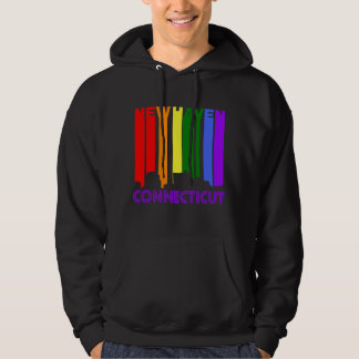 Retro 1970's Style New Haven Connecticut Skyline Hoodie