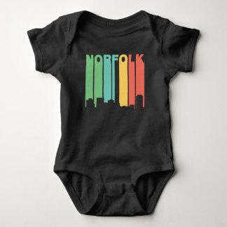 Retro 1970's Style Norfolk Virginia Skyline Baby Bodysuit