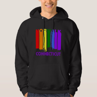 Retro 1970's Style Norwalk Connecticut Skyline Hoodie