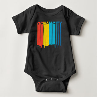Retro 1970's Style Ocean City Maryland Skyline Baby Bodysuit