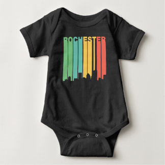 Retro 1970's Style Rochester New York Skyline Baby Bodysuit