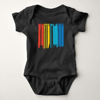 Retro 1970's Style White Plains New York Skyline Baby Bodysuit