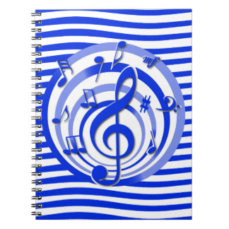 Retro 3D Effect Blue Musical Notes Note Book