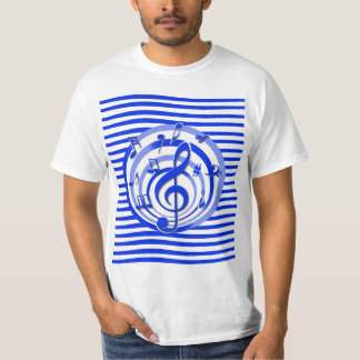 Retro 3D Effect Blue Musical Notes T-Shirt