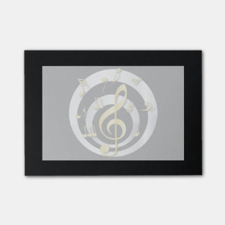 Retro 3D Effect Gold and Silver Musical Notes