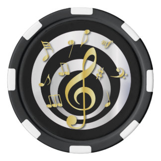 Retro 3D Effect Gold and Silver Musical Notes Poker Chips