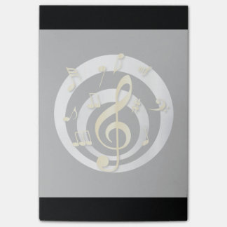Retro 3D Effect Gold and Silver Musical Notes Sticky Notes
