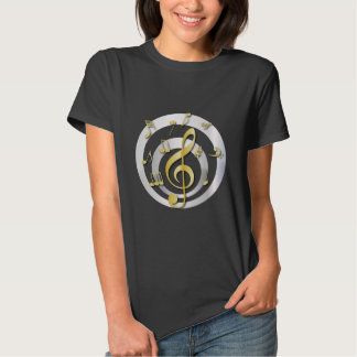 Retro 3D Effect Gold and Silver Musical Notes T-shirt