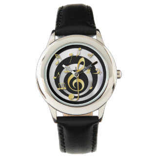 Retro 3D Effect Gold and Silver Musical Notes Wristwatch