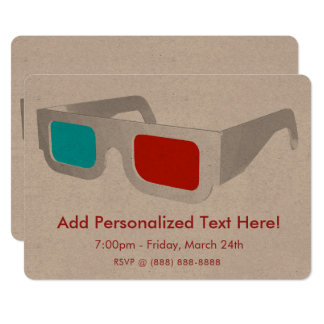 Retro 3D Glasses Card