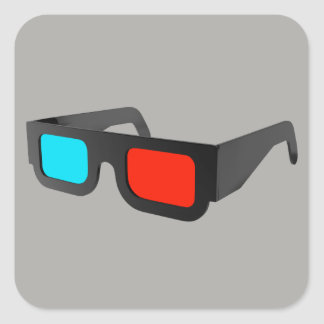 Retro 3D Glasses Square Sticker