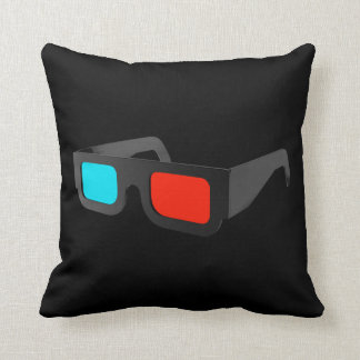 Retro 3D Glasses Throw Pillow