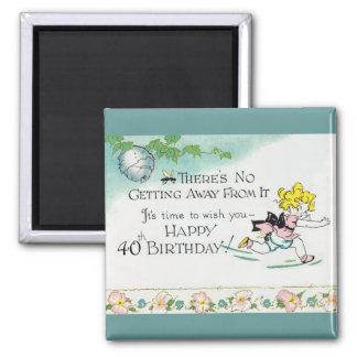 Retro 40th Birthday Square Magnet