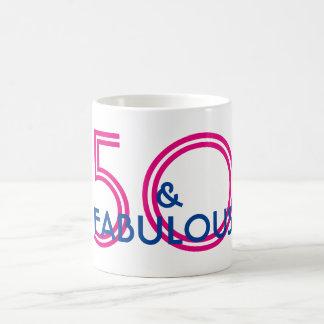 Retro 50 and Fabulous Birthday Mug