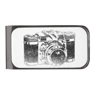 Retro 50's camera gunmetal finish money clip