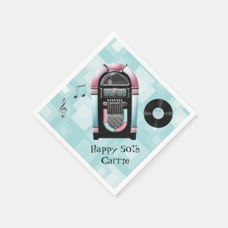 Retro 50's Jukebox Custom Paper Napkins