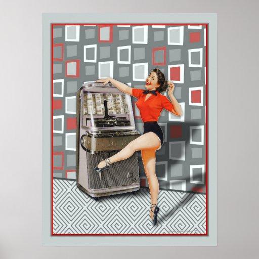 Retro 50s Jukebox Dancing Pinup Girl Poster Zazzle Ca