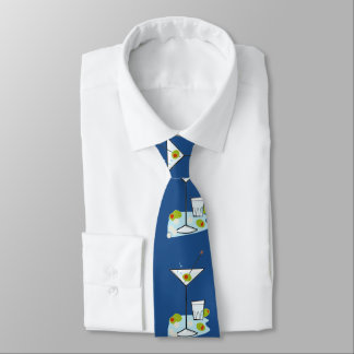 Retro 50s Martini Glass Party Time Royal Blue Tie