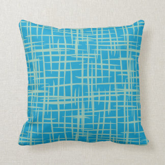 retro 50s pattern throw pillow formica blue