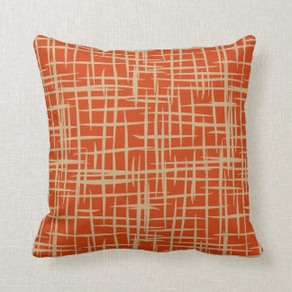 retro 50s pattern throw pillow terracotta