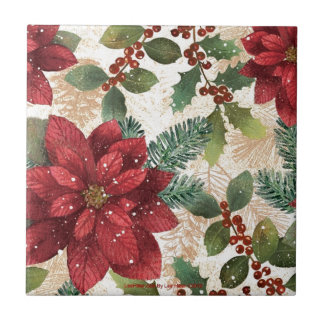 Retro 50s Poinsettia Red Green Cream Ceramic Tile