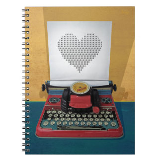 Retro 50s Typewriter Vintage Heart to Customize Spiral Note Books