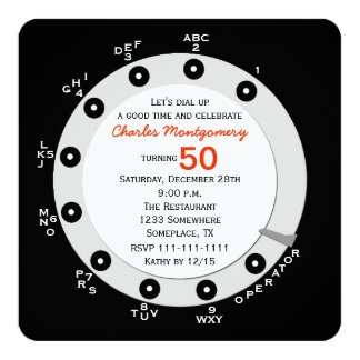 Retro 50th Birthday Party Invitation Rotary Dial