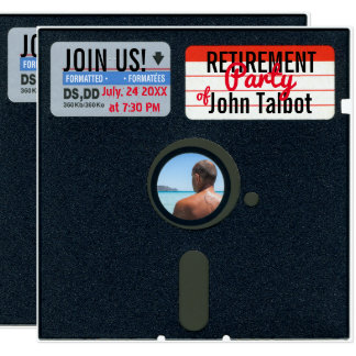 Retro 5.25 Floppy Disk Retirement Party invite