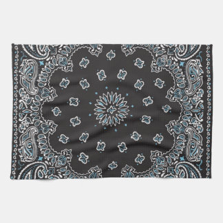 Retro 60s 70s Hippy Black Bandanna Kitchen Towel