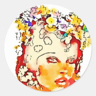 Retro 60s Babe Round Sticker