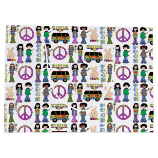 Retro 60s Hippie Love Peace Large Gift Bag
