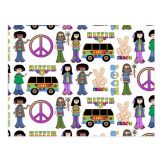 Retro 60s Hippie Love Peace Postcard