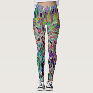 Retro 60s Jewel Tones Abstract, Personalized Name Leggings