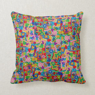 Retro 60s Peace / Love Patchwork Throw Pillow