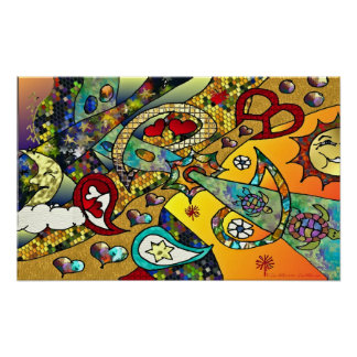 Retro 60s Psychedelic Cycle Of Life Print Poster