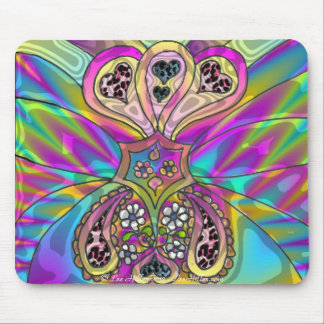 Retro 60s Psychedelic Hearts Flowers Gifts Apparel Mouse Pad