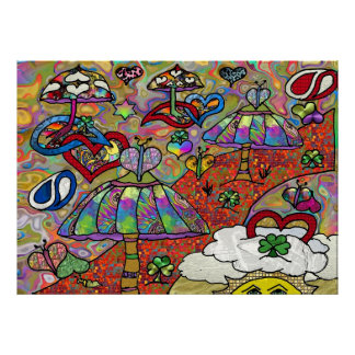 Retro 60s Psychedelic Magic Mushrooms Print Poster