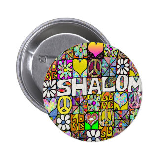 Retro 60s Psychedelic Shalom LOVE Apparel Gifts 2 Inch Round Button