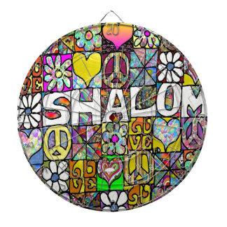 Retro 60s Psychedelic Shalom LOVE Dartboard With Darts